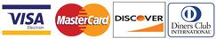 Se acepta pagos con Visa, Master Card, Discover y DinersClub